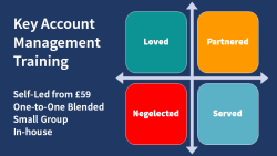 Diagram distinguishing account management relationships to support promotion of our key account management training..