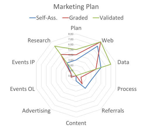 Diagram displaing marketing plan review results.