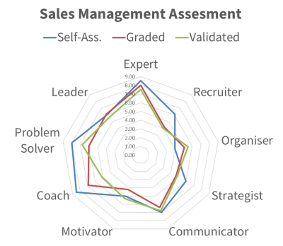 Diagram showing scores for sales manager competencies.